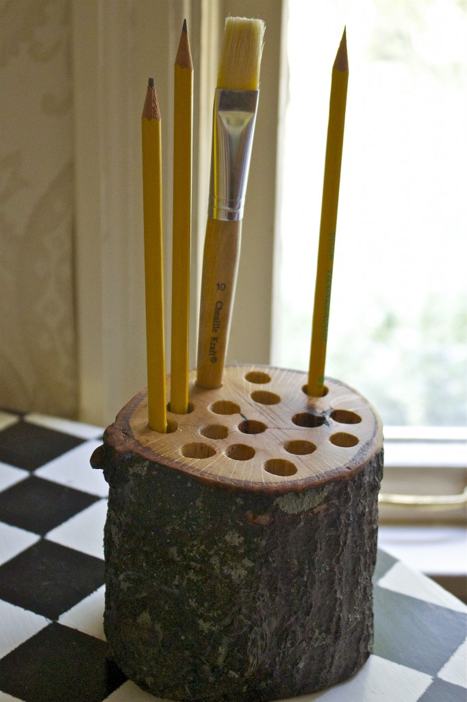wood pencil holder