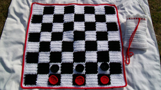 You could win this crocheted Checkers set in our giveaway this month!